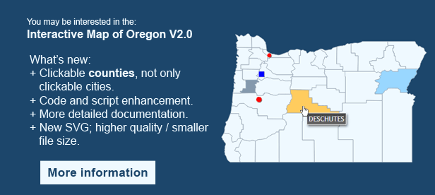 Interactive Map of Oregon - Clickable Counties