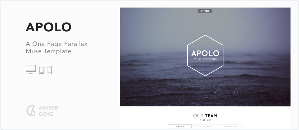 Apolo - One Page Parallax Muse Template