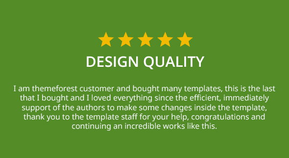 5 star rating for Design Quality