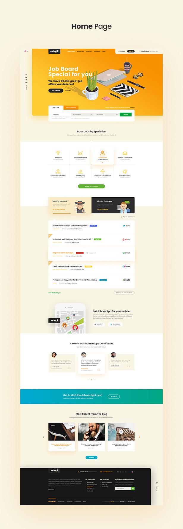 Jobook - A Unique Job Board Website PSD Template - 2