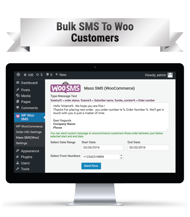 WP Woo SMS Bulk SMS To WOO CUSTOMERS Image