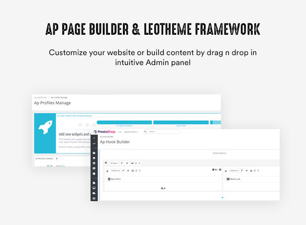 Ap Page Builder & Leotheme Framework Customize your website or build content by drag n drop in intuitive Admin panel