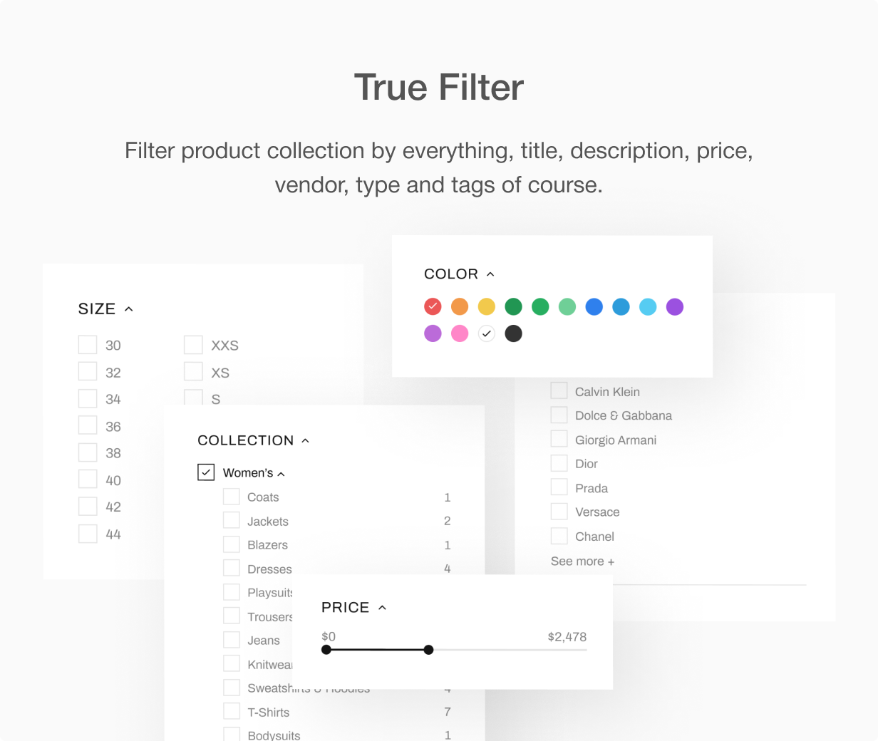 Refine filters by everything at Shella Shopify theme