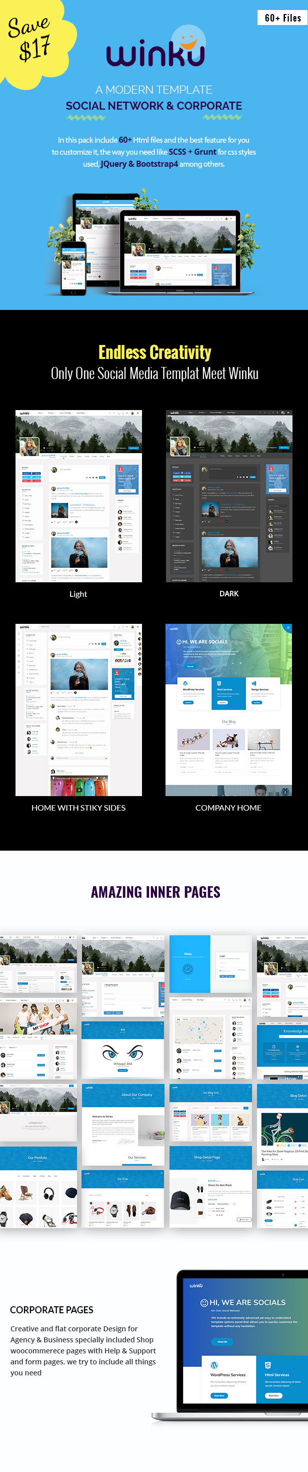 winku social network toolkit corporate responsive template by