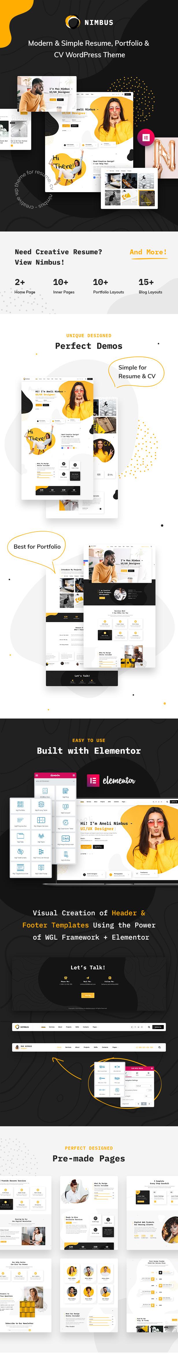 Nimbus - CV & Portfolio WordPress Theme - 1