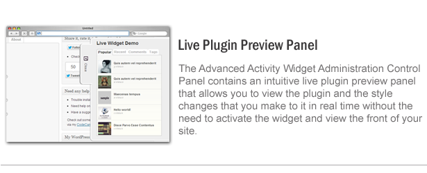 Live plugin preview panel