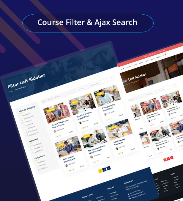 course filter, education filter search