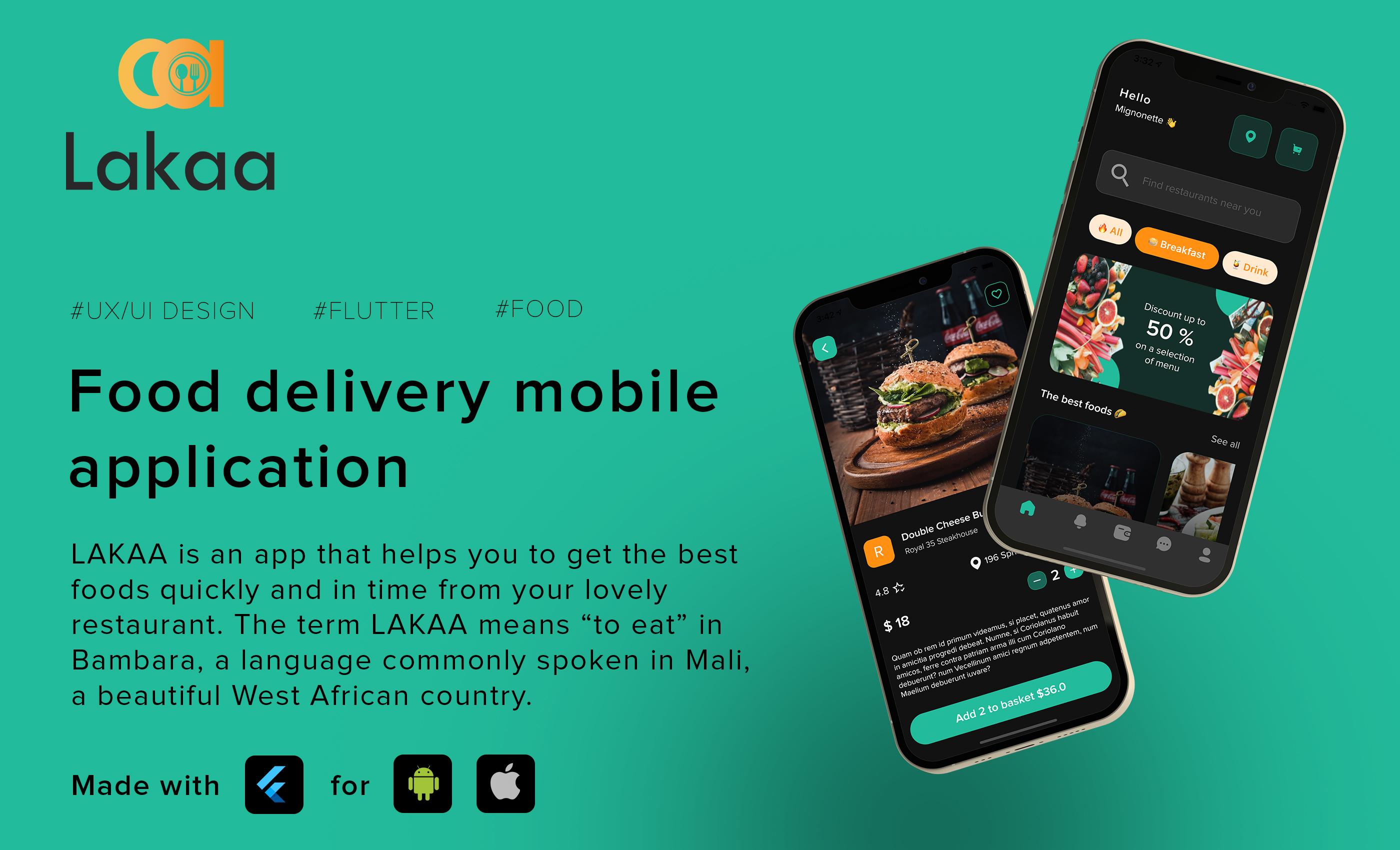 Lakaa food delivery app presentation - flutter ui kit design