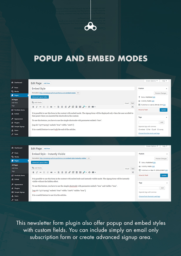 Popup and Embed Signup Forms