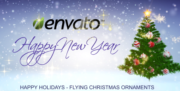 Happy Holidays - Falling Christmas Ornaments - 6