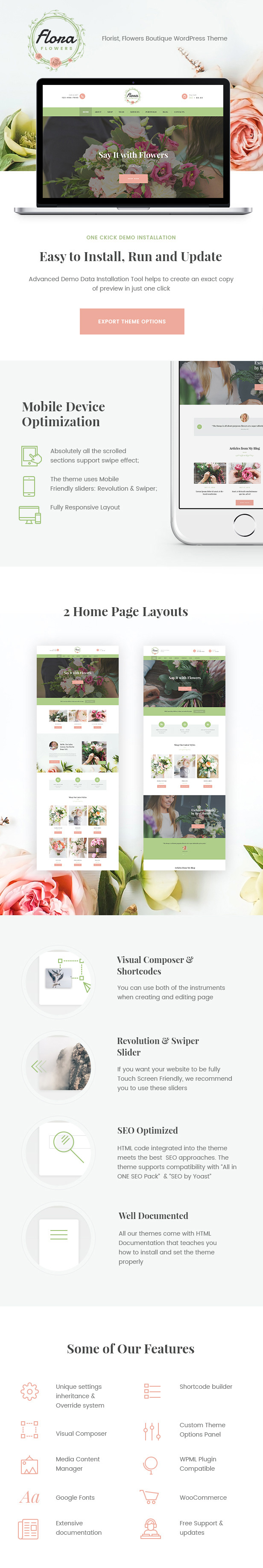 Flowers Boutique and Florist WordPress Theme - 1
