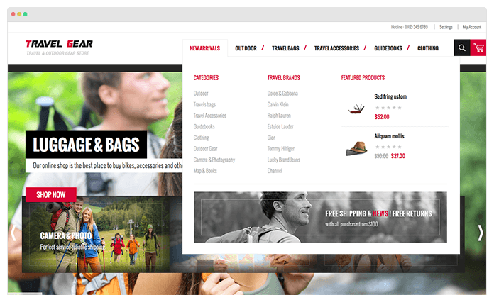 Magento extension Mega Menu in Responsive Magento theme TravelGear