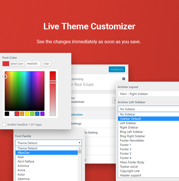 Live Time Customizer in HouseSang Single Property WordPress Theme