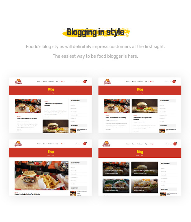 Foodo Blog Pages- Fast Food Restaurant WordPress Theme