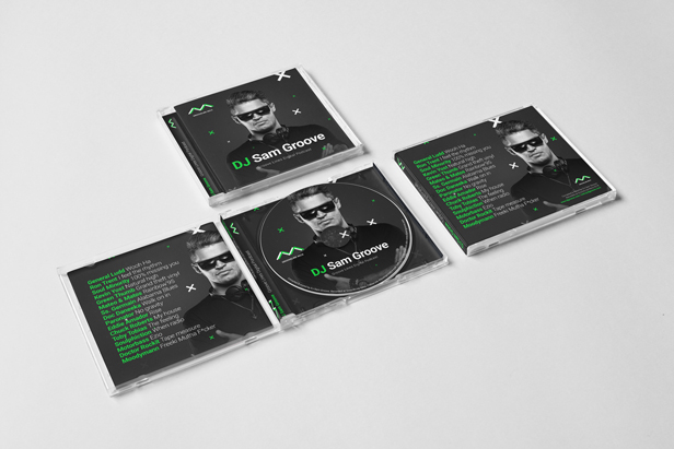 GrooveLine - DJ Mix Album CD Cover Artwork PSD Template