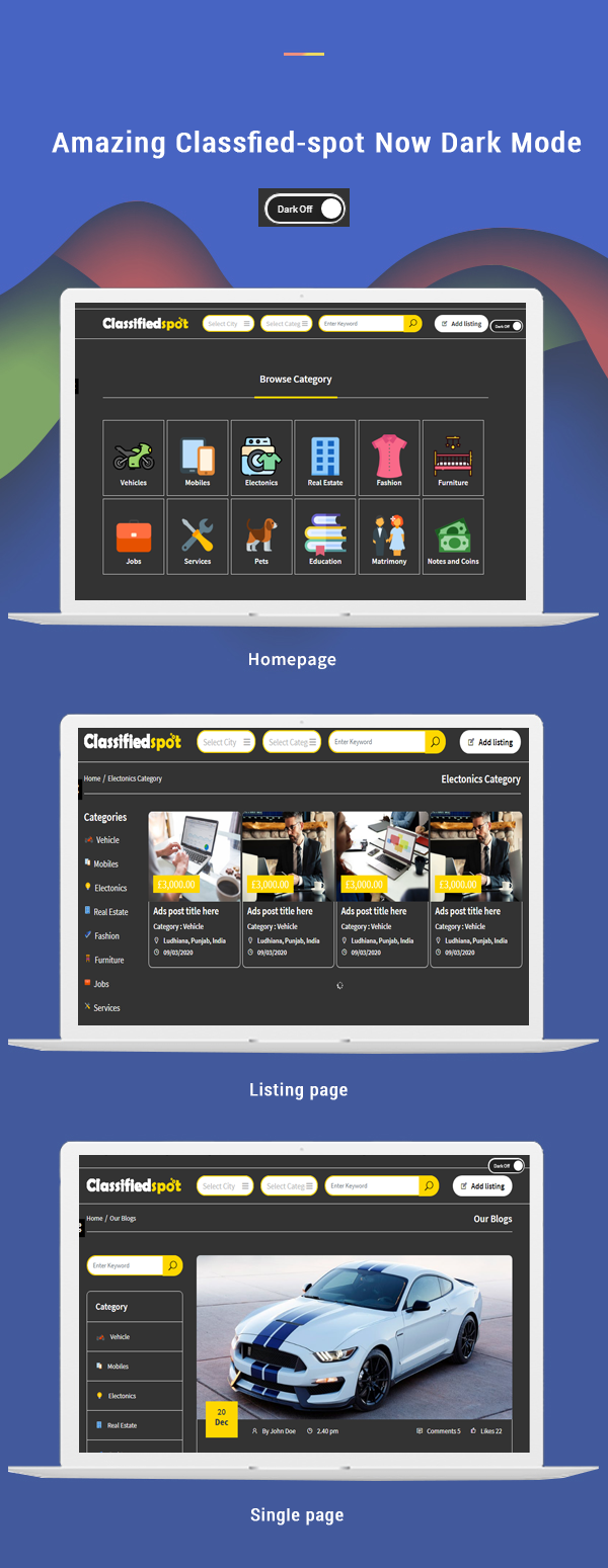 black colored theme classified spot html feature banner