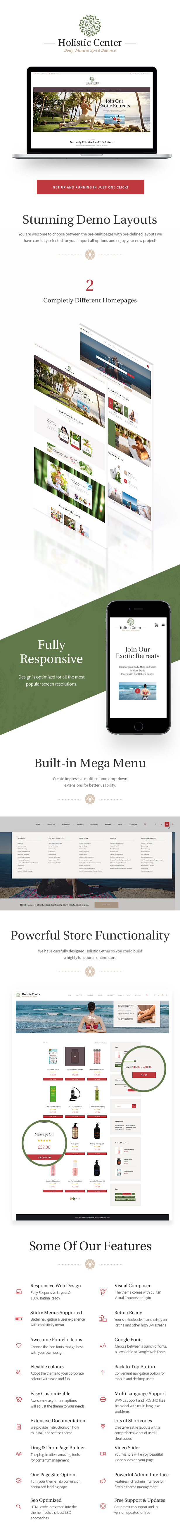 Holistic Center - Wellness and Spa WordPress Theme features