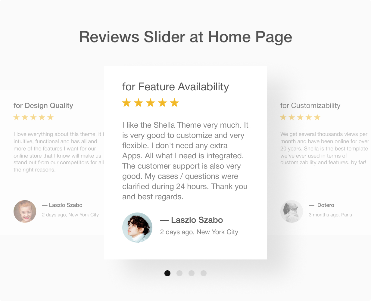 Reviews slider section at home page