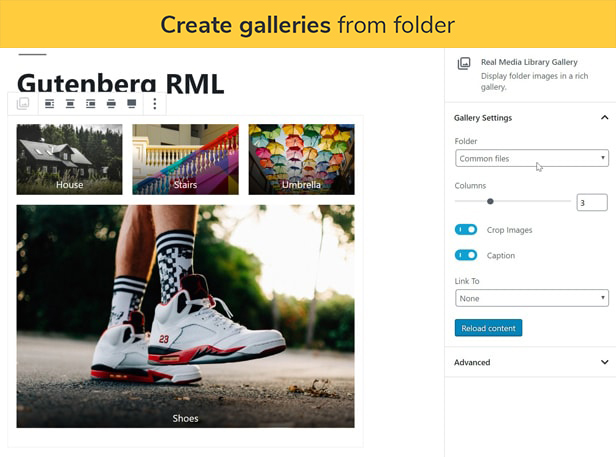 Create galleries from folder: Create a gallery with the images of one gallery folder in the Gutenberg editor