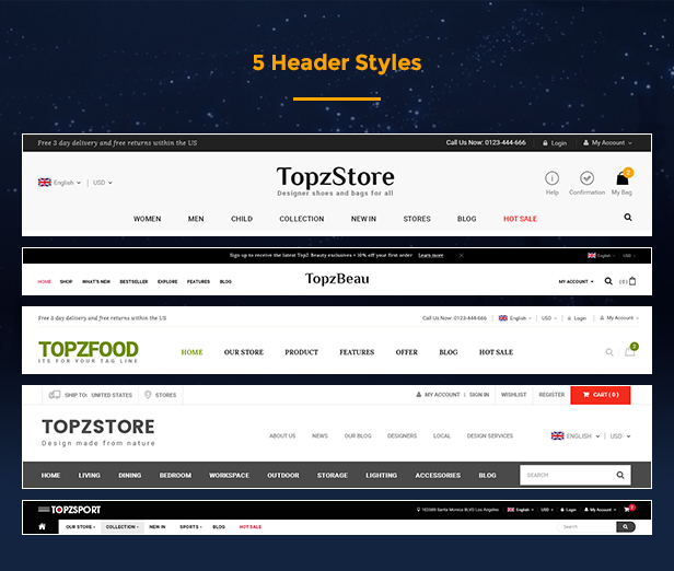 Topz - header and footer stypes