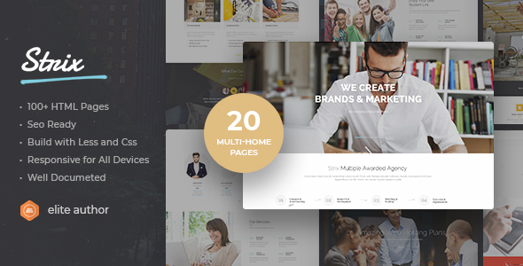 Strix - Multipurpose Business, Agency, Portfolio, Construct HTML5 Template - Corporate Site Templates
