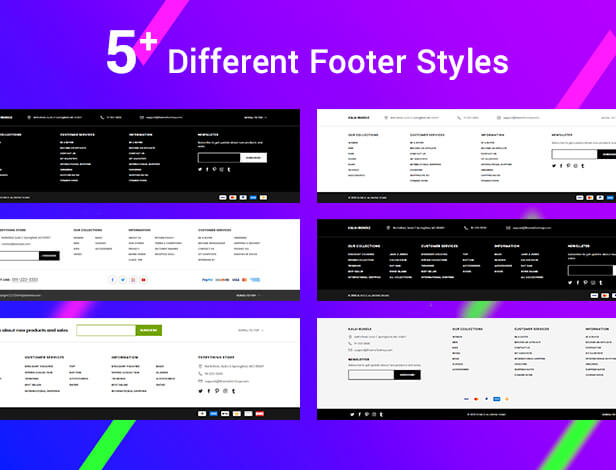 Shopify with 5 footer options
