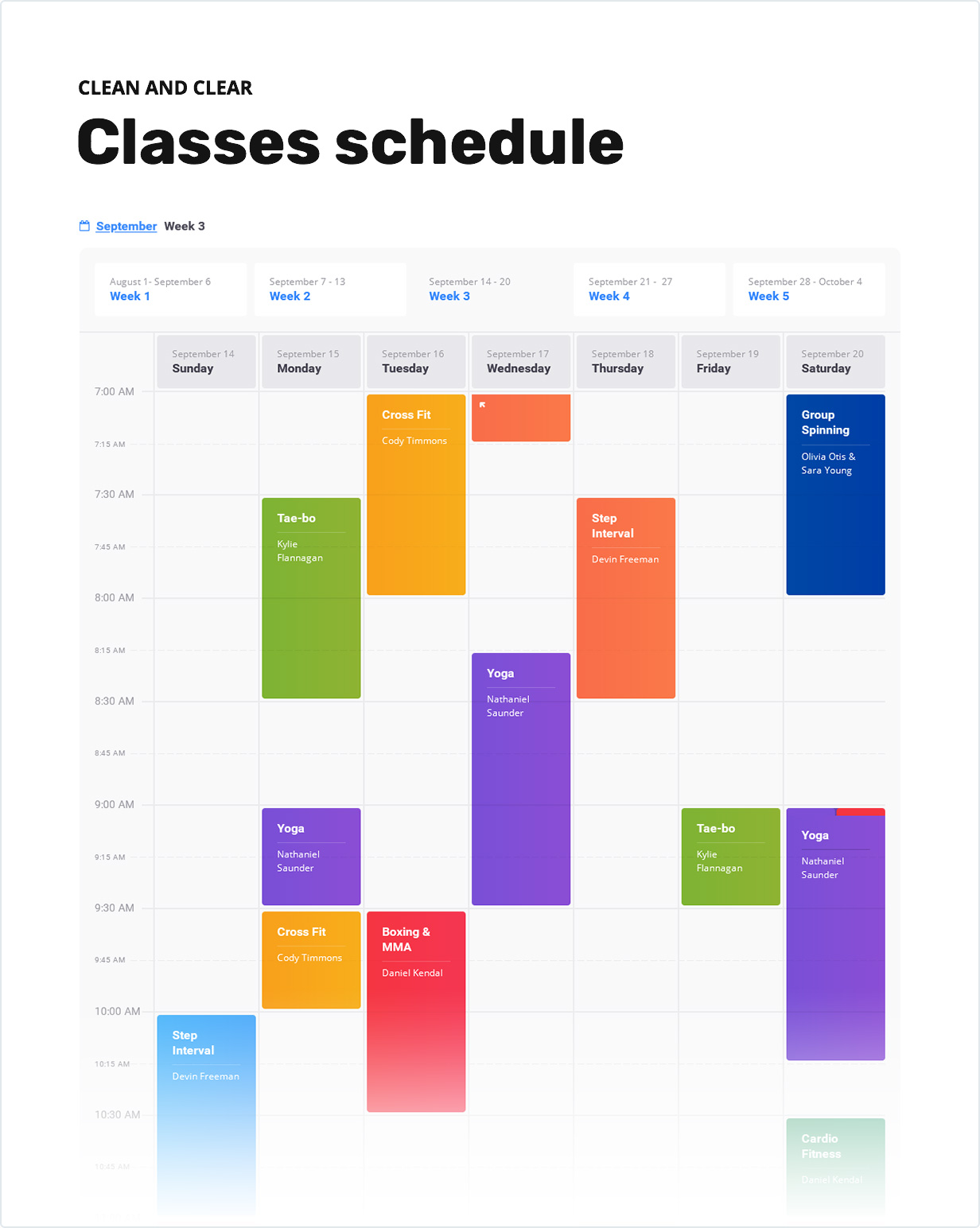 Clean and Clear Classes Schedule