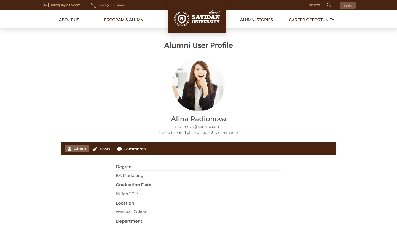 Alumni Profiles - University Alumni Education WordPress Theme