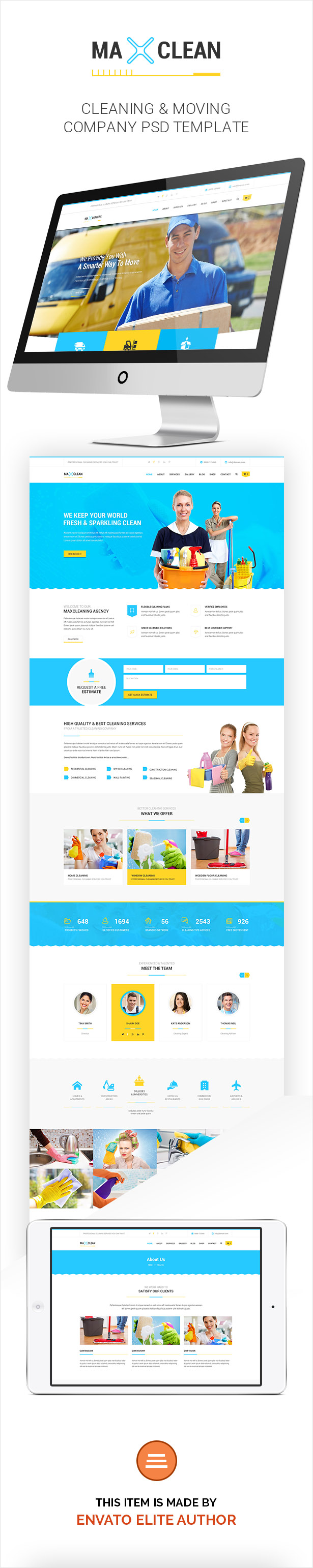 Max Cleaners & Movers - PSD Template - 1