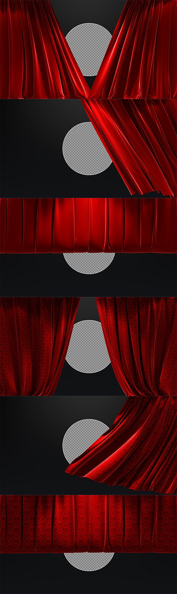 3D Realistic Red Curtains Opening & Closing - 10 Pack by SergeyPopov