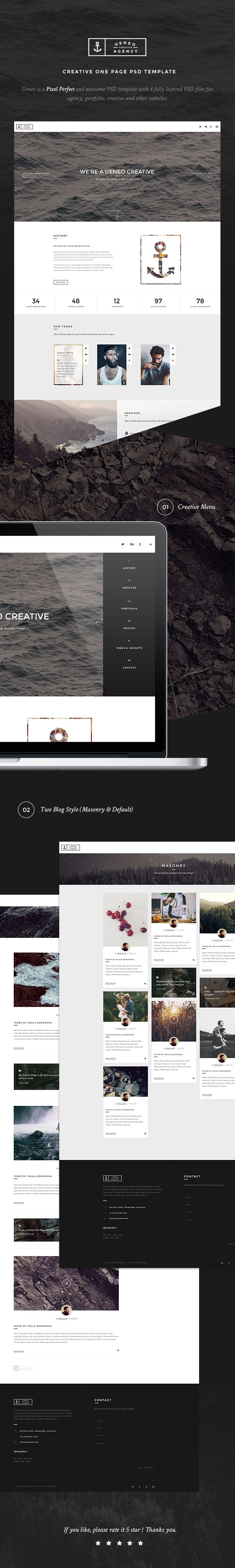 Ueneo - Creative One Page PSD Template - 1