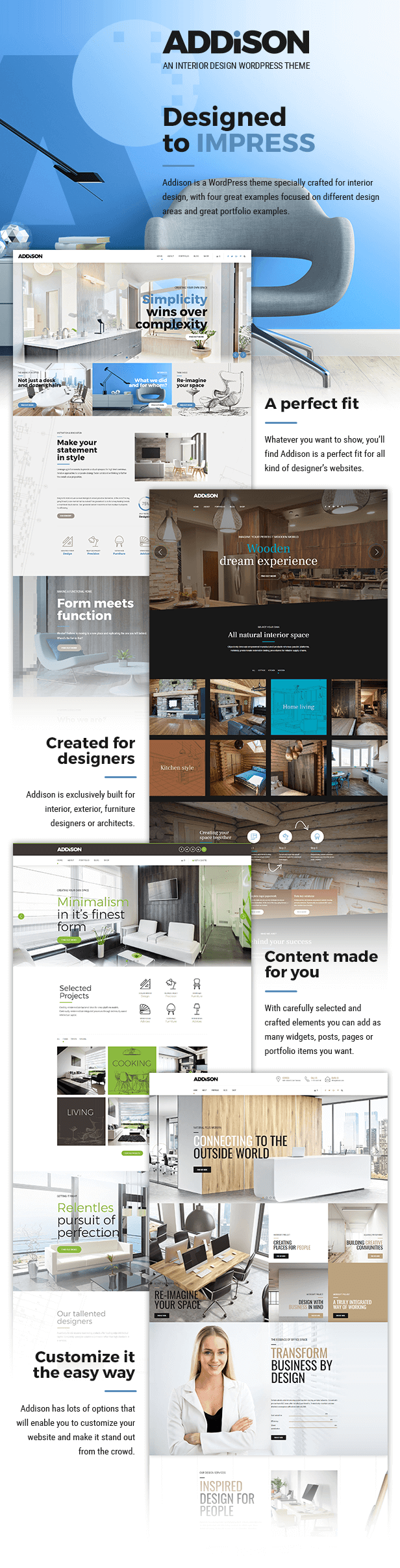 Interior design theme for Addison interior design decoration wordpress theme nulled