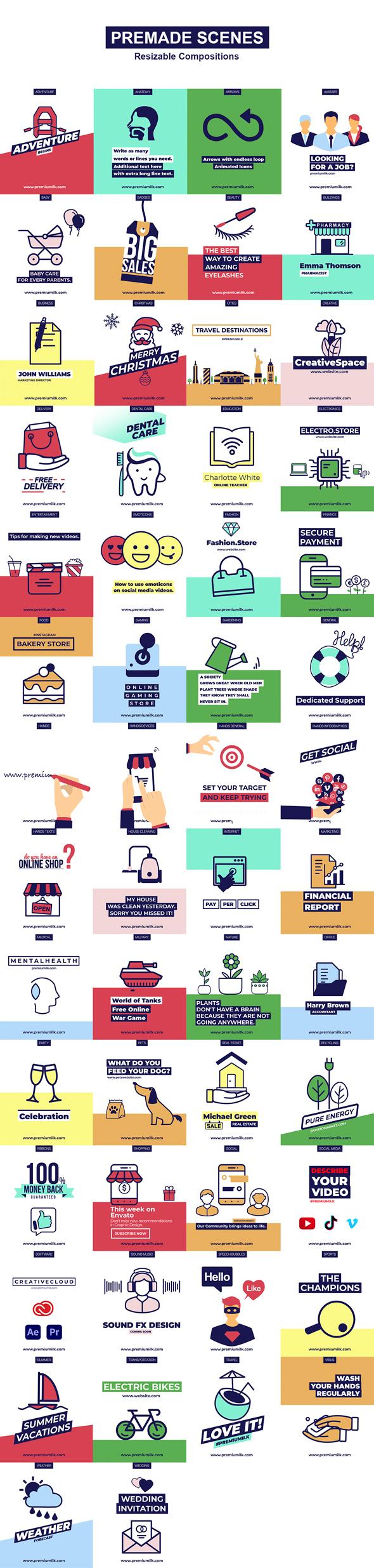 AE脚本-PremiumBuilder Animated Icons 1000个电子商务社交媒体扁平化金融建筑教育医疗儿童表情符号图标动画大合集更新 V3插图8