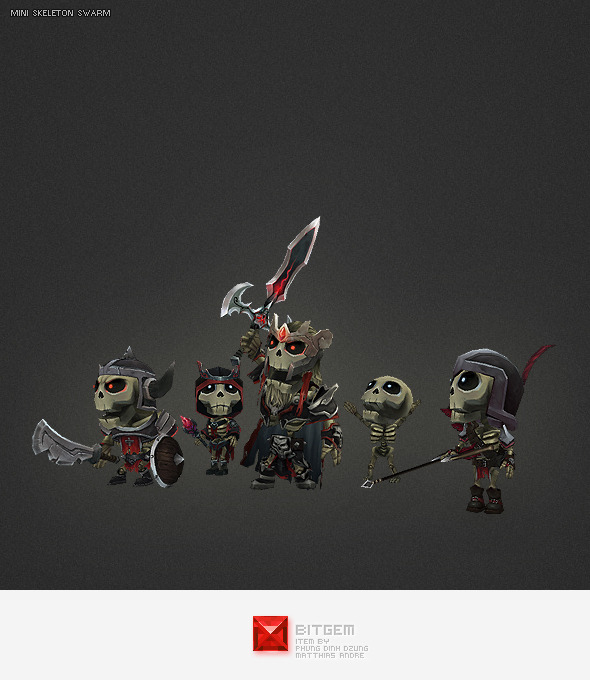 Low Poly Mini Skeleton Swarm Character Pack