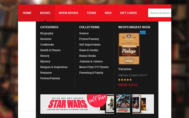 Mega Menu in Magento theme  Bookshop