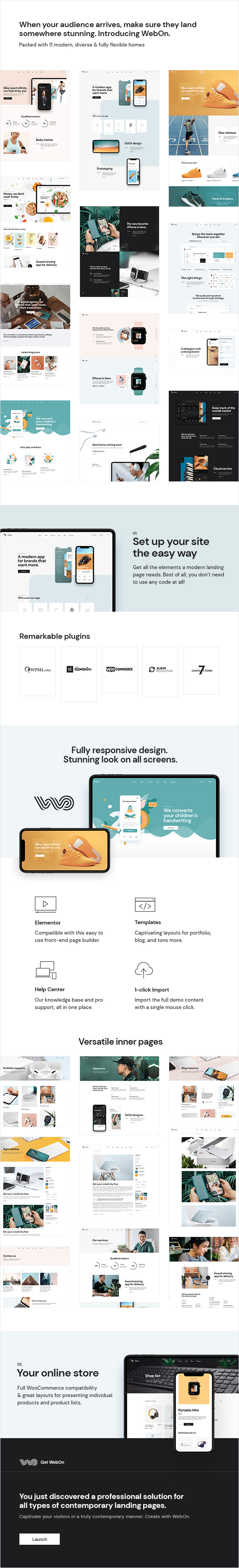 WebOn v1.3 Landing Page WordPress Theme