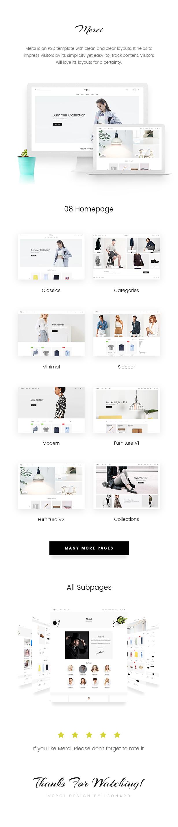 Merci | Minimalist eCommerce PSD Template - 1