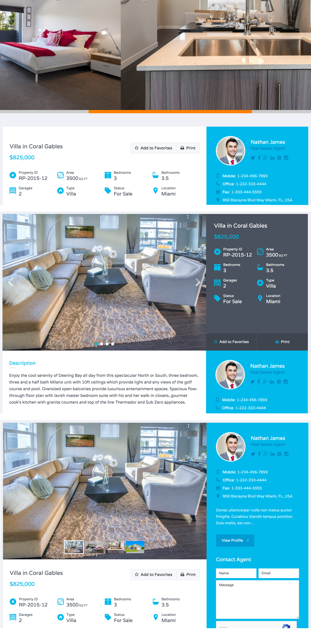 3 Different Variations for Property Detail Page