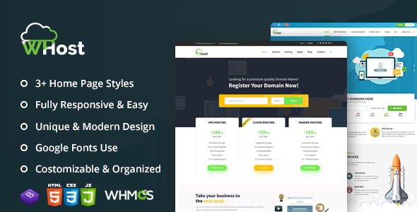 WHost-Domain Hosting Server Rental with WHMCS Responsive HTML5 Template