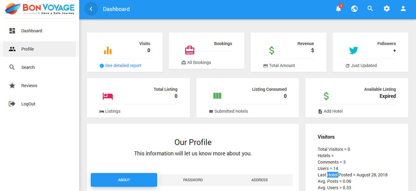 User Profile Panel