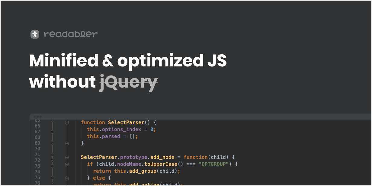 Minified & optimized JS without jQuery