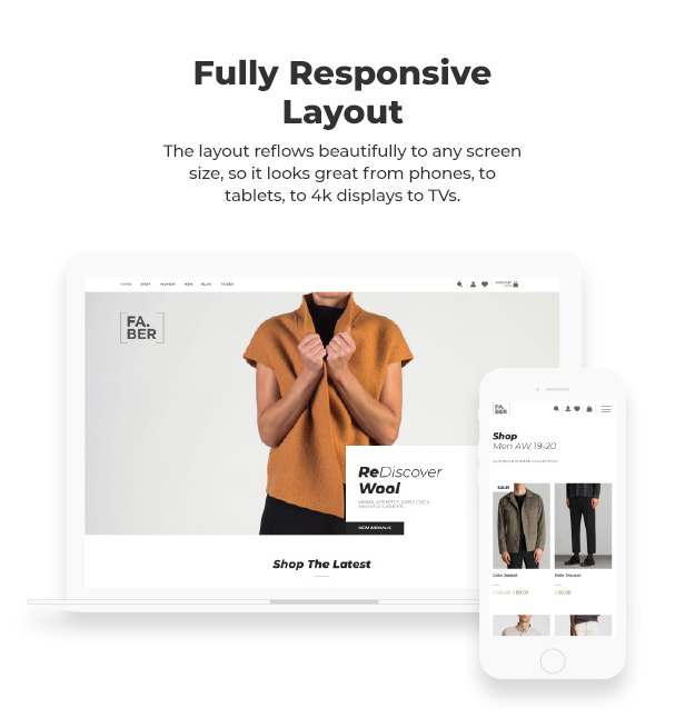 Responsive WordPress theme. The layout reflows beautifully on any screen size in order to look great on phones, tablets, laptops & desktops.