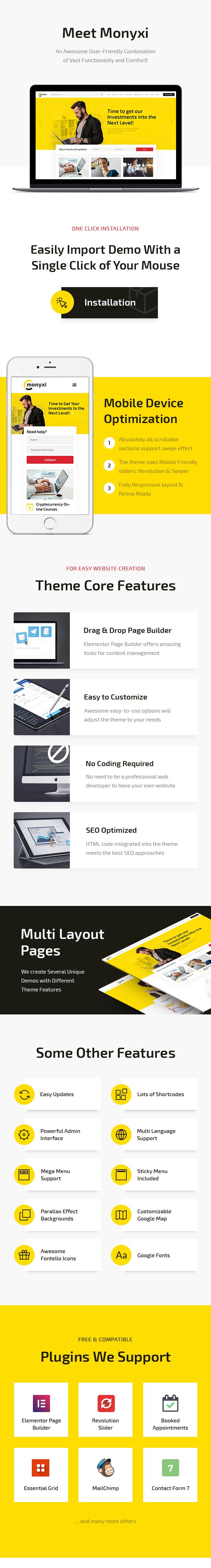 Monyxi | Cryptocurrency Trading Business Coach WordPress Theme - 1