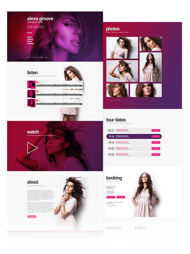 Flava - Album / Single Release Promo and DJ / Music Band Responsive Muse Template - 2
