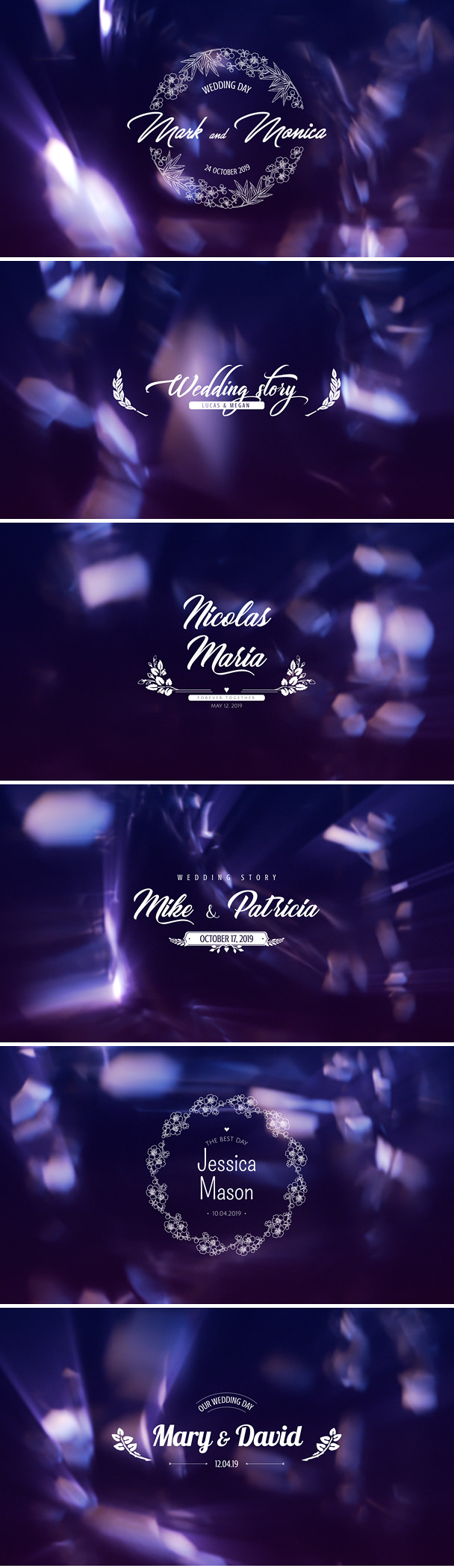 Wedding Titles After Effects pack for stylish videography project, wedding video intro