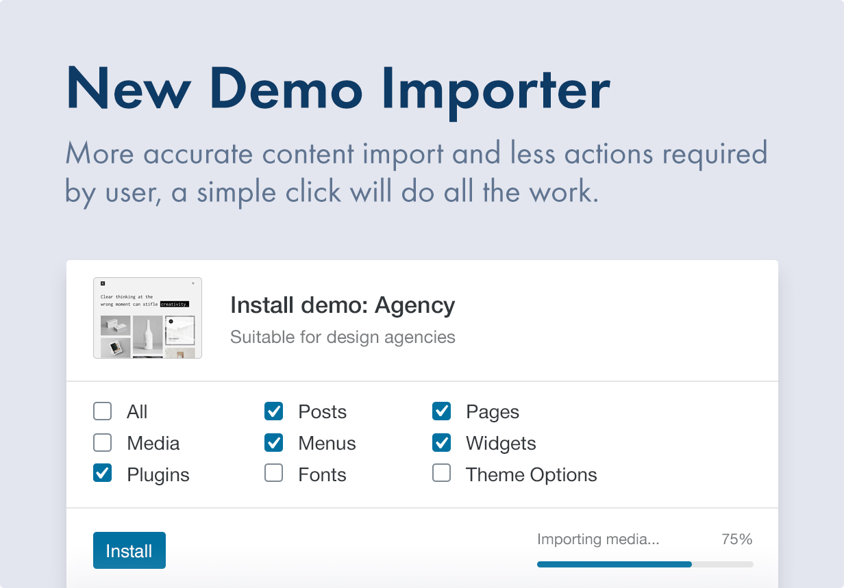 More accurate demo importer with less actions required
