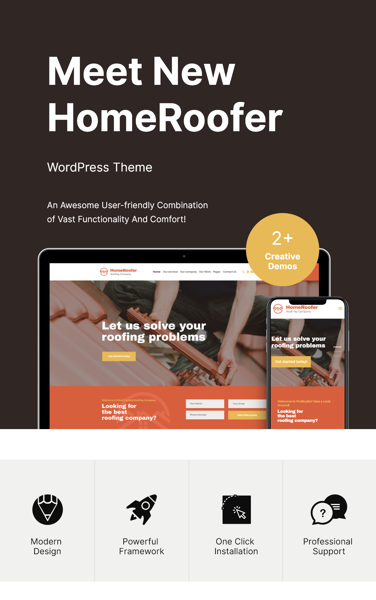 HomeRoofer | Roofing Company Services & Construction WordPress Theme - 2