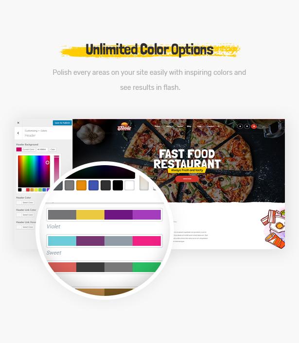 Foodo Unlimited Color- Fast Food Restaurant WordPress Theme