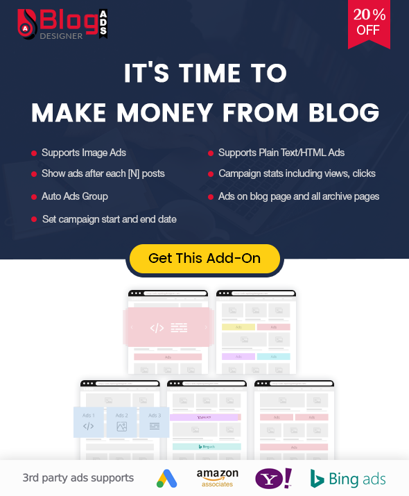 Blog Designer Ads addon for Blog Designer PRO