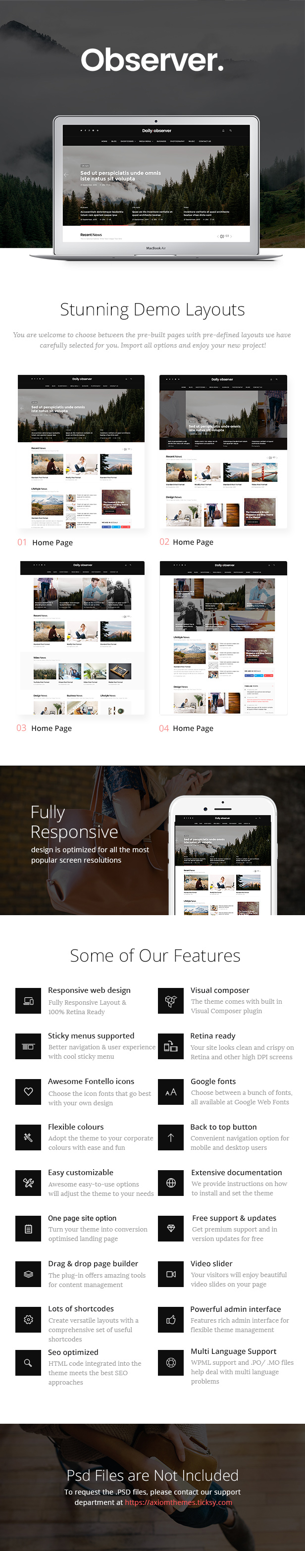 Modern Magazine, Review & News Portal WordPress Theme features